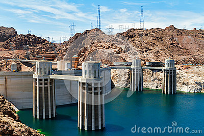 Penstock Towers Of Hoover Dam Stock Photo.