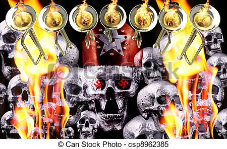 Stock Illustrations of 7 trumpets with fire flames and human.