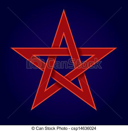 Vector Illustration of Red Pentagram.