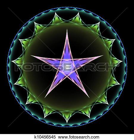 Stock Illustration of Purple and Green Pentangle Design k10456545.