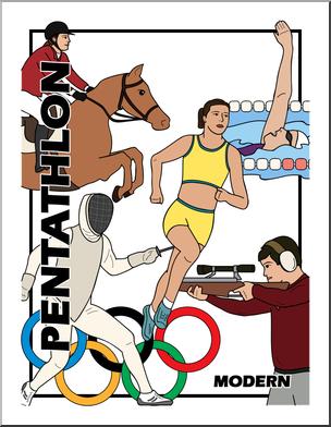 Clip Art: Summer Olympics Event Illustrations: Modern Pentathlon.
