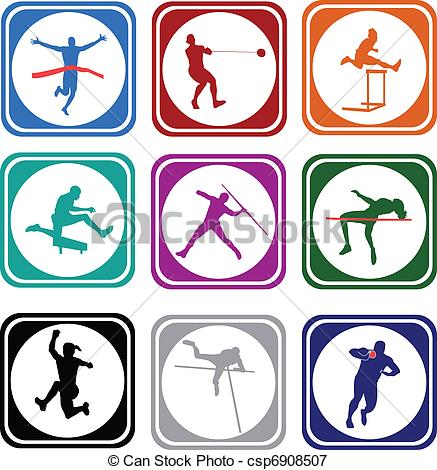 Clip Art Vector of athletics collection.