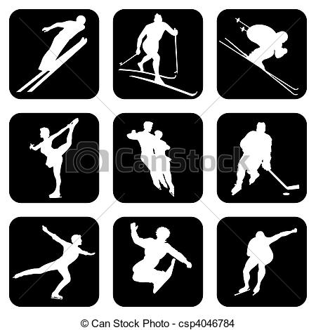 EPS Vector of winter sports. Set of vector silhouette icons for.