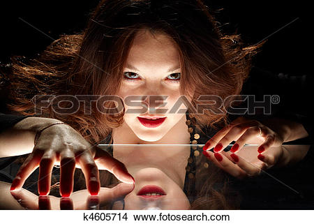 Stock Photo of charming woman with penetrating glare k4605714.
