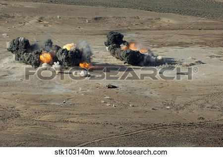 Stock Photo of Hard target penetrating bombs explode at the Gordia.