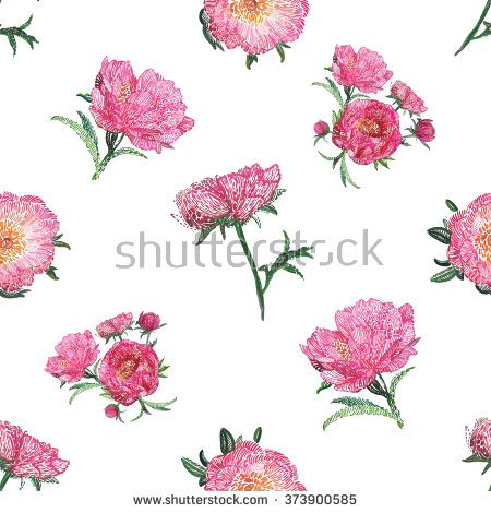 Vector Embroidery Vintage Embroidery Peony Flower Stock Vector.