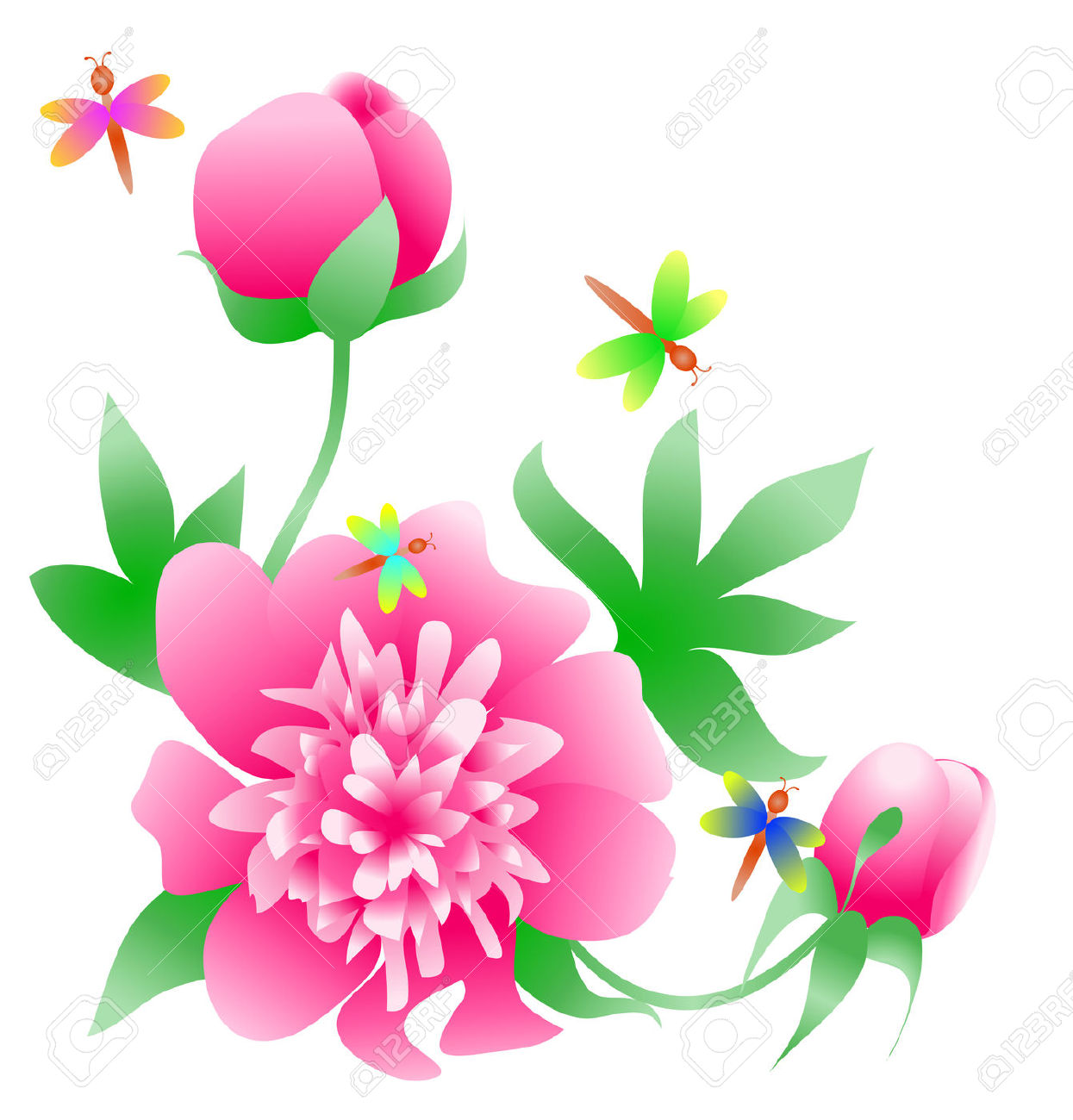 Pink Peony Corner With Buds And Butterflies Royalty Free Cliparts.