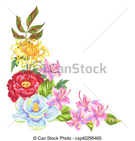 Clip Art Vector of Decorative element with China flowers. Bright.