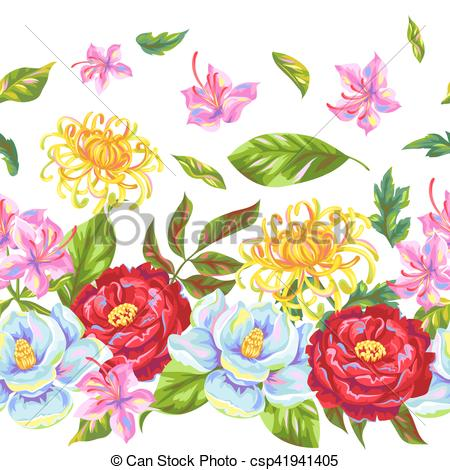 Vector Clipart of Seamless pattern with China flowers. Bright buds.