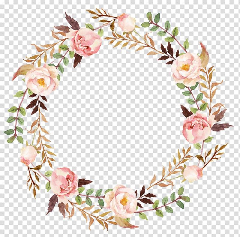 Wedding invitation Paper Wreath , flower wreath, pink and.