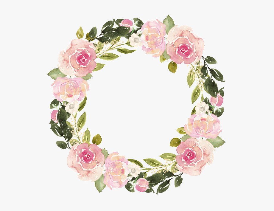 Hand Painted Floral Wreath Clipart / Wedding Invitation.