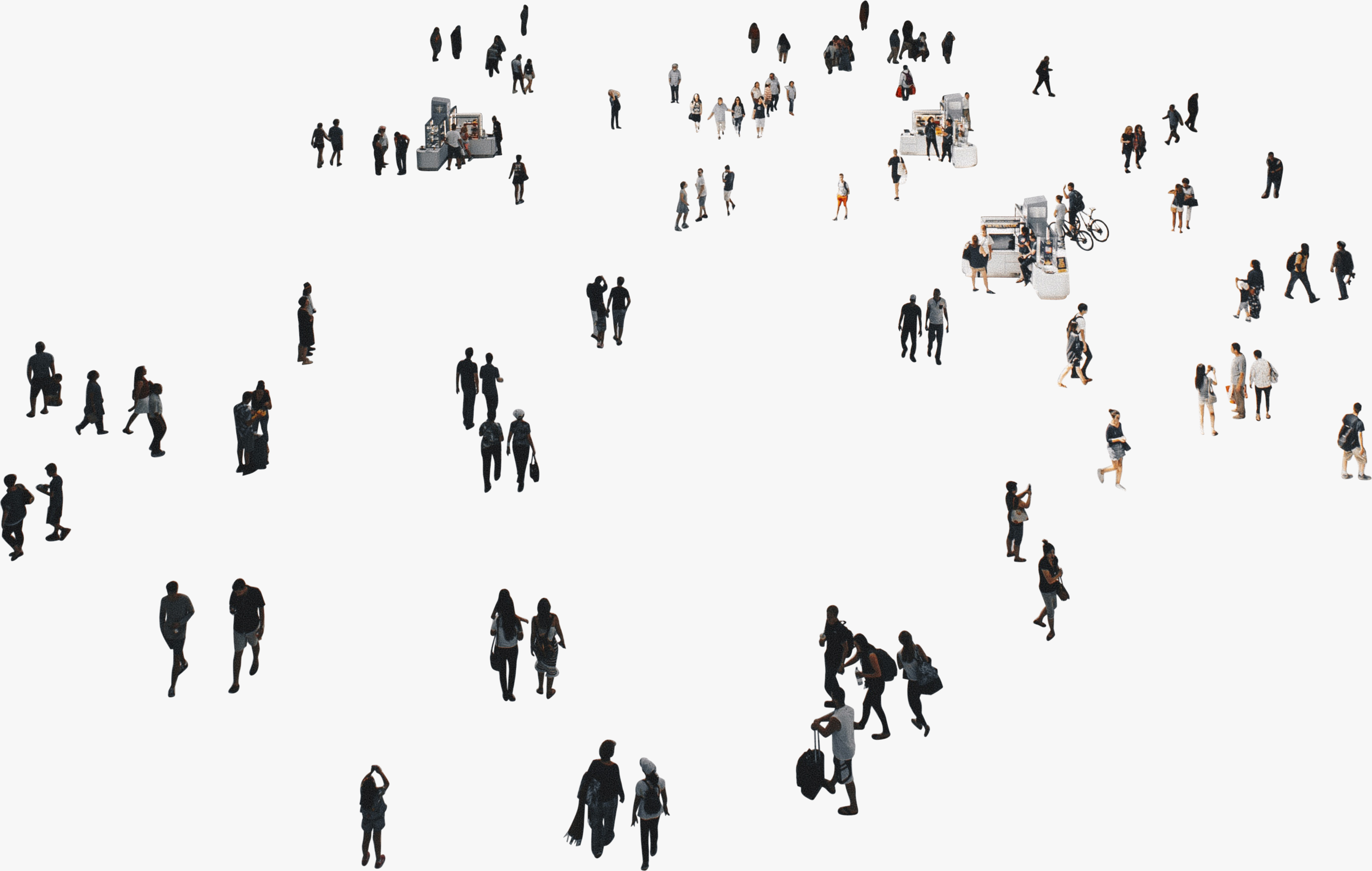 image of a large group of people in a public space cutout.