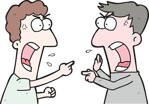Cartoon Two People Arguing premium clipart.