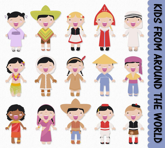 Children from Around the World Clip Art Graphics Kids Clipart.