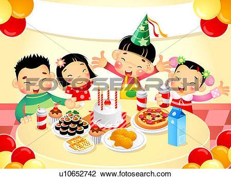 Clip Art of Children at birthday party u10652742.