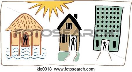 Stock Illustration of People living in a hut,a house and a high.