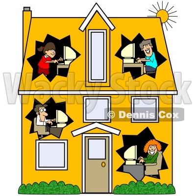 Computer With Families Clipart#1865398.