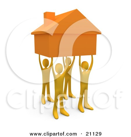 Four Gold People Holding Up A Home, Symbolizing Teamwork, Strong.