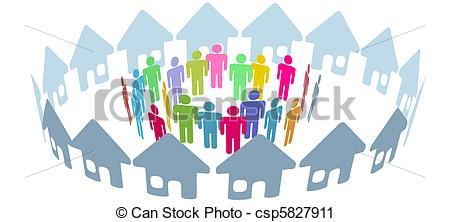 Vector Clip Art of Social neighbor people meet in home ring.