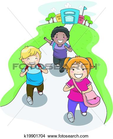 Clipart of Going Home from School k19901704.