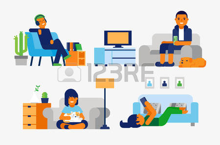 20,307 Relaxing Home Stock Vector Illustration And Royalty Free.