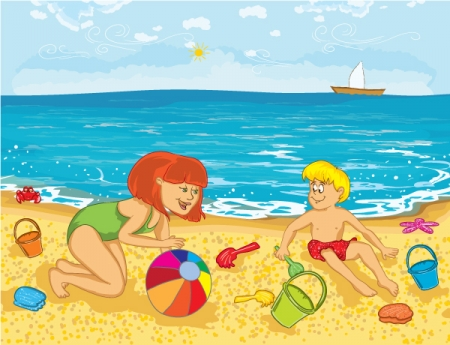 Swimming in Beach Clip Art.