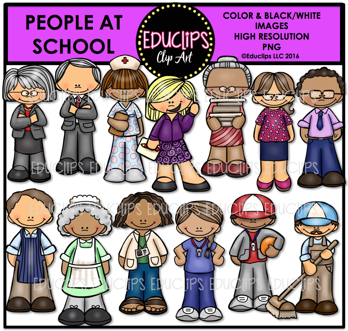 People At School Clip Art Bundle (Color and B&W).