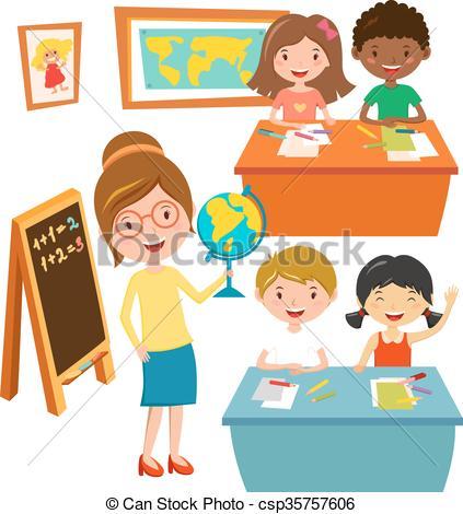 Vector Clipart of School kids education elementary school learning.