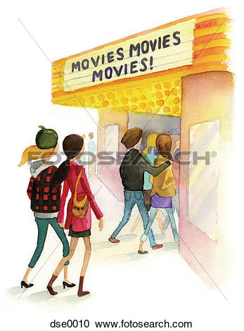 Stock Illustrations of A watercolor illustration of people going.