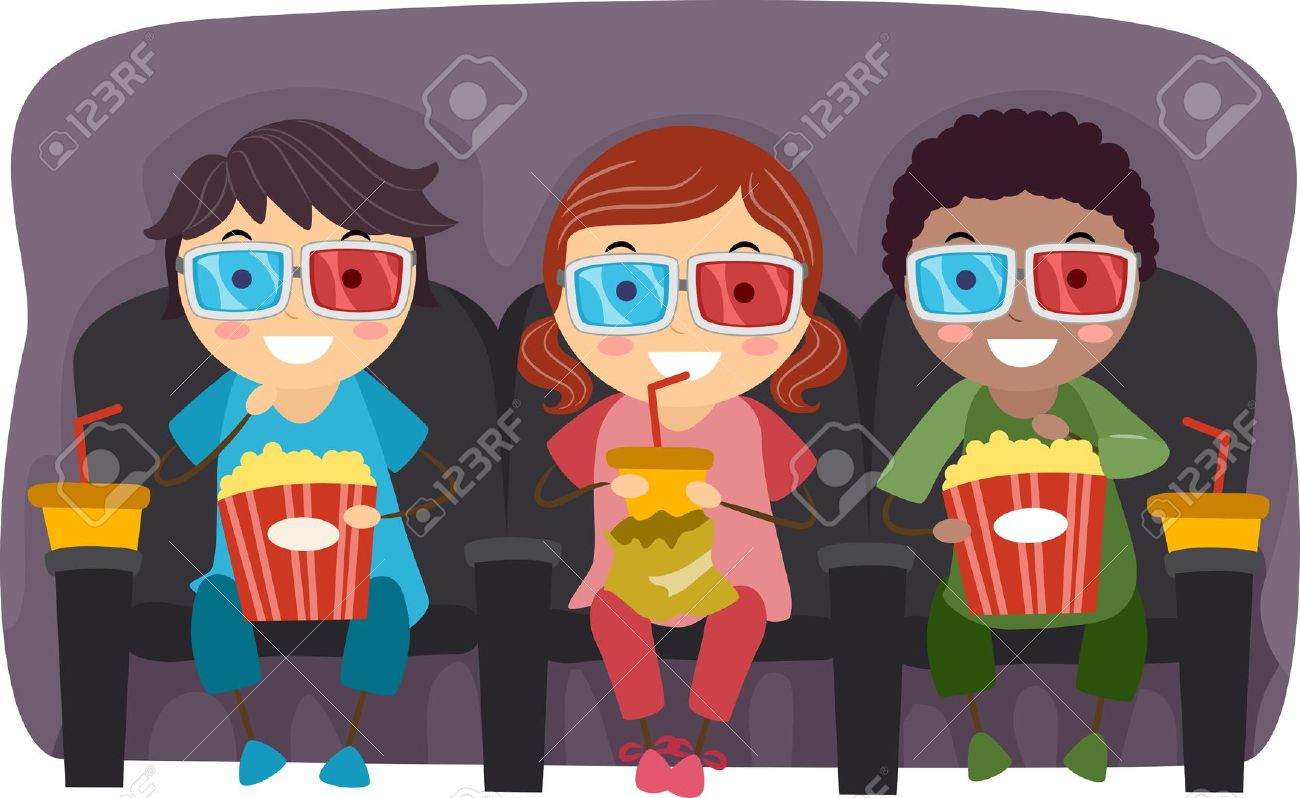 Illustration Of Kids Watching A Movie With 3D Glasses While Eating.