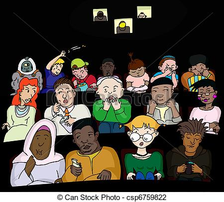 Vector Illustration of People at the Movies.