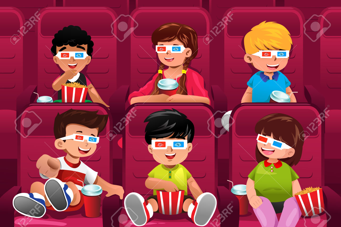 people at the movies clipart #16