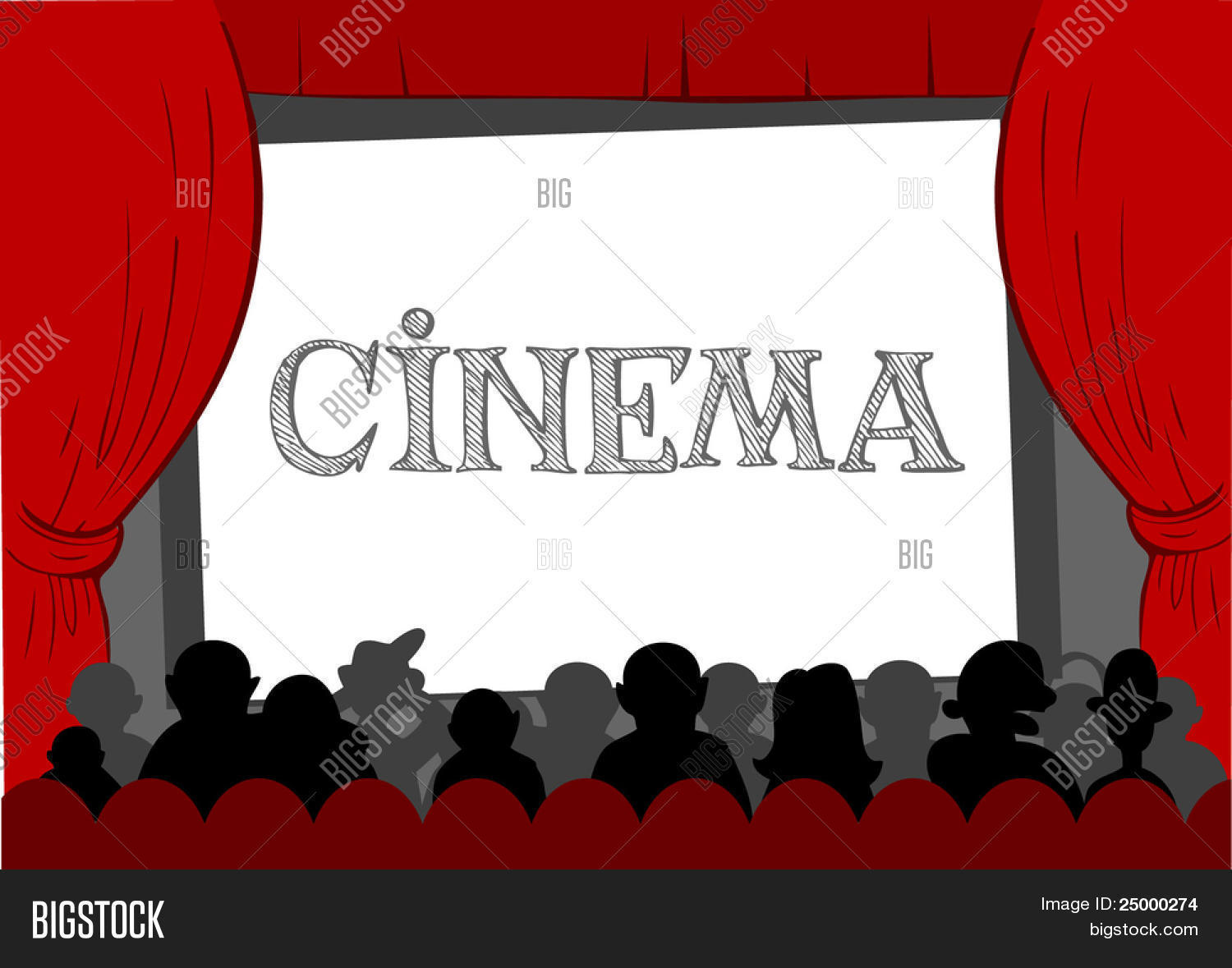 People watching movie at cinema hall, Vector illustration Stock.