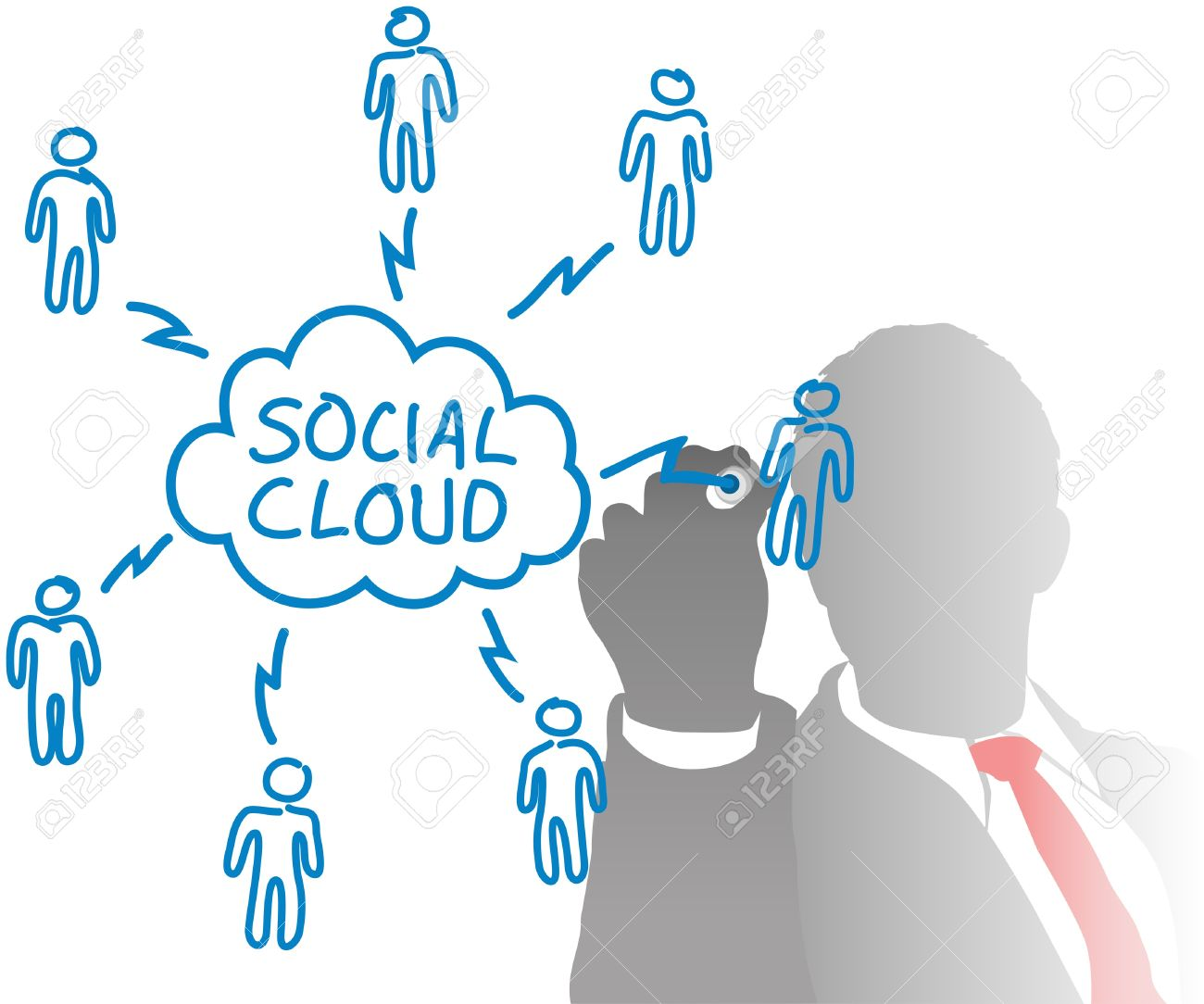 Business Person Connects Cloud Computing And Social Media People.