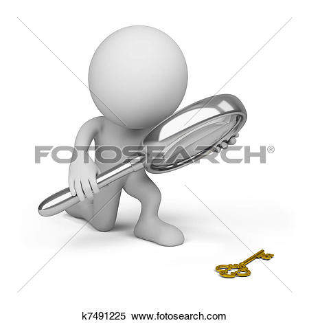 Stock Illustration of 3d white people magnifying glass k10102295.