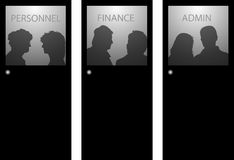 Silhouettes People Behind Glass Stock Illustrations.