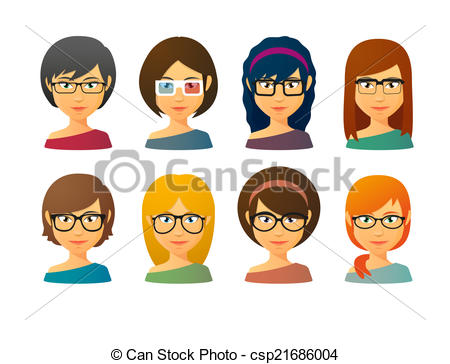 Person with Glasses Clip Art.