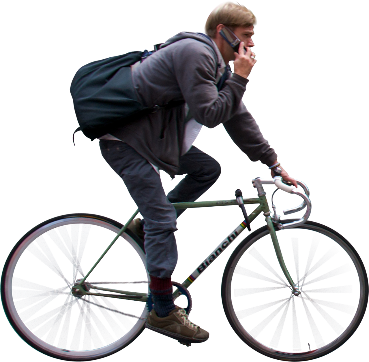 man riding bicycle and using phone.