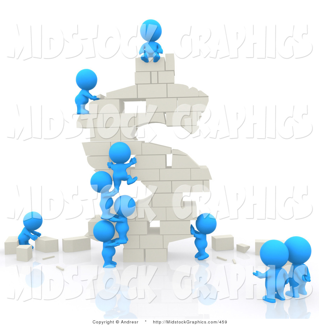 Clip Art of 3d Teeny People Building a White Dollar Symbol out of.