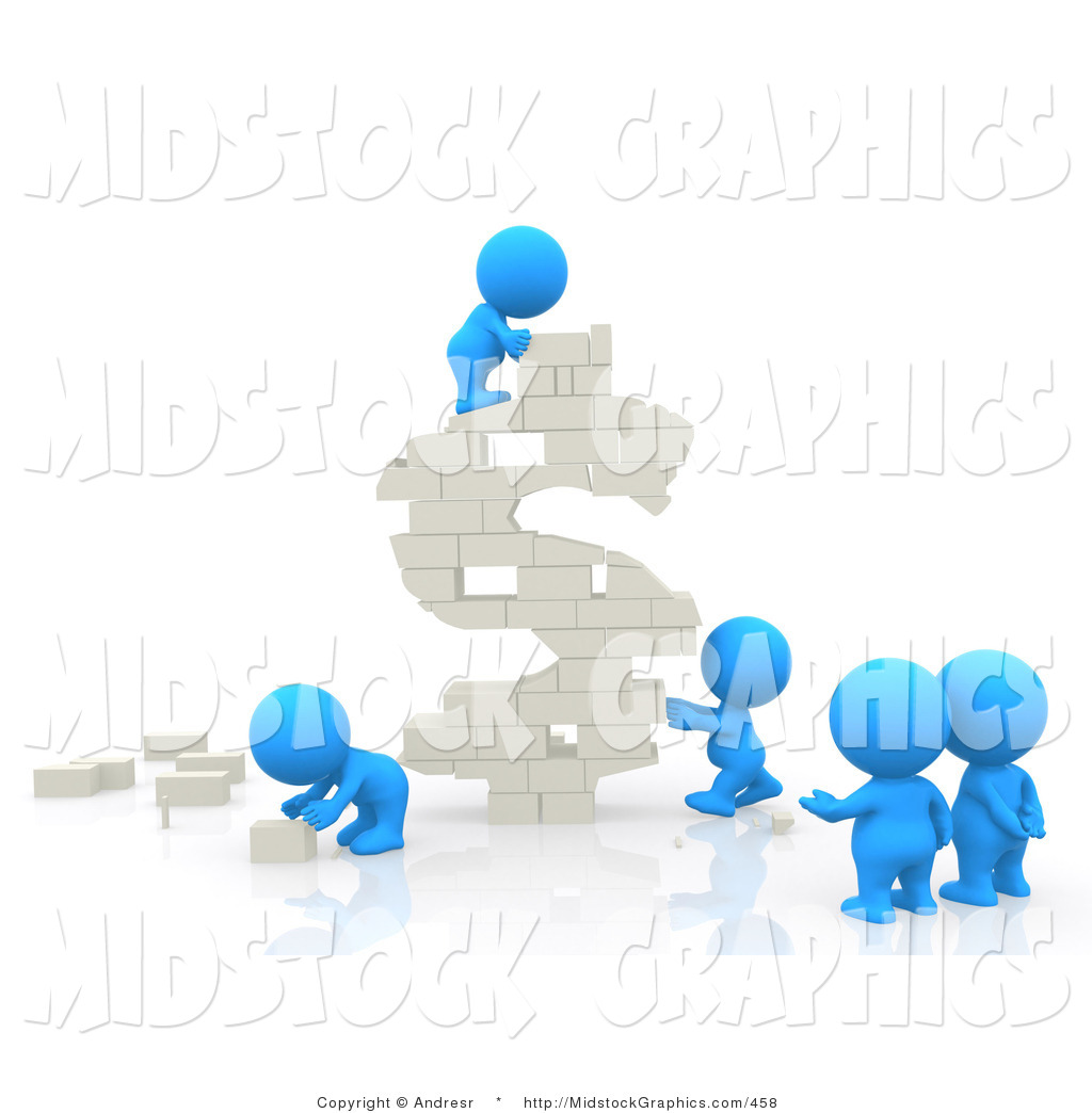 Clip Art of Five 3d Teeny People Building a USD Symbol out of.