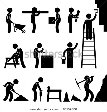 Stick People Working Clipart.