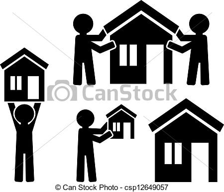 Clipart Vector of Icons building of house with figures of people.