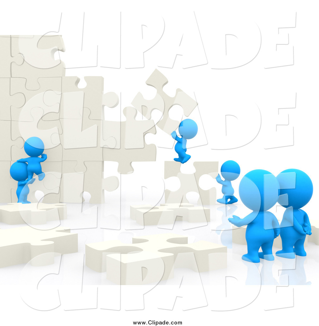 Clip Art of 3d Blue People Building a Puzzle Wall by Andresr.