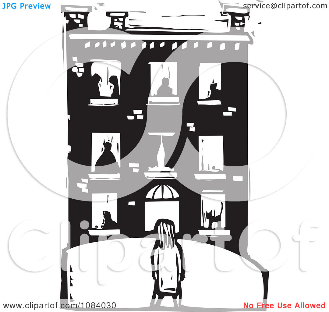 Clipart Girl Facing A Building With People In The Windows Black.