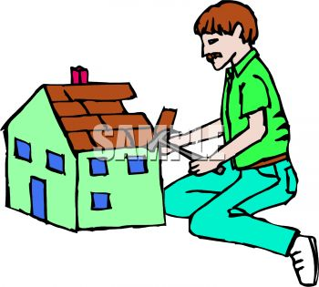 Royalty Free Clipart Image: Man Building a Dollhouse.