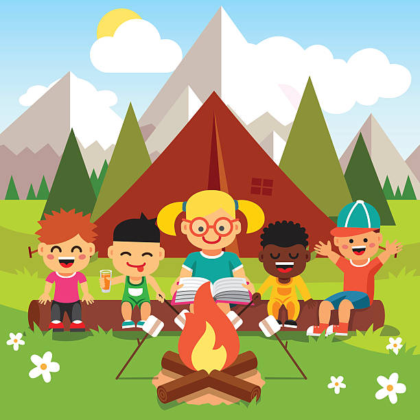 Woman Camping Clip Art, Vector Images & Illustrations.