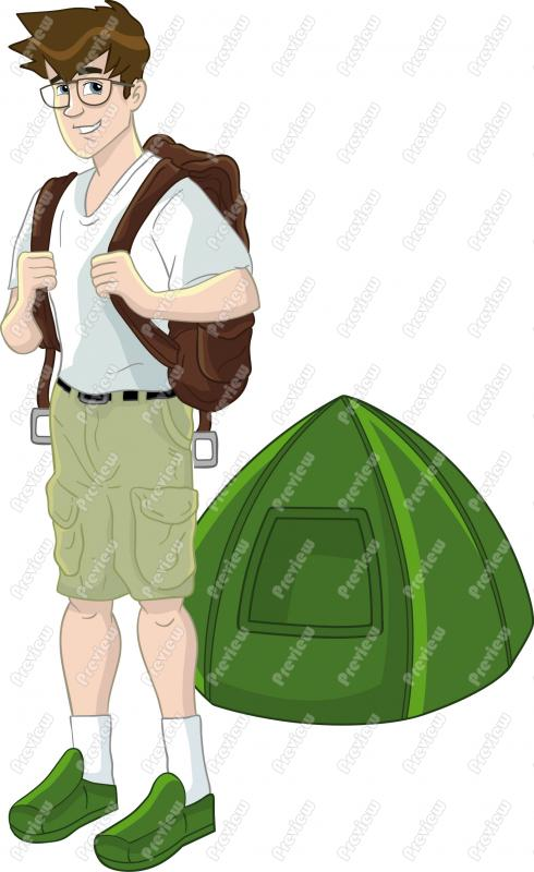 Man Camping Clip Art.