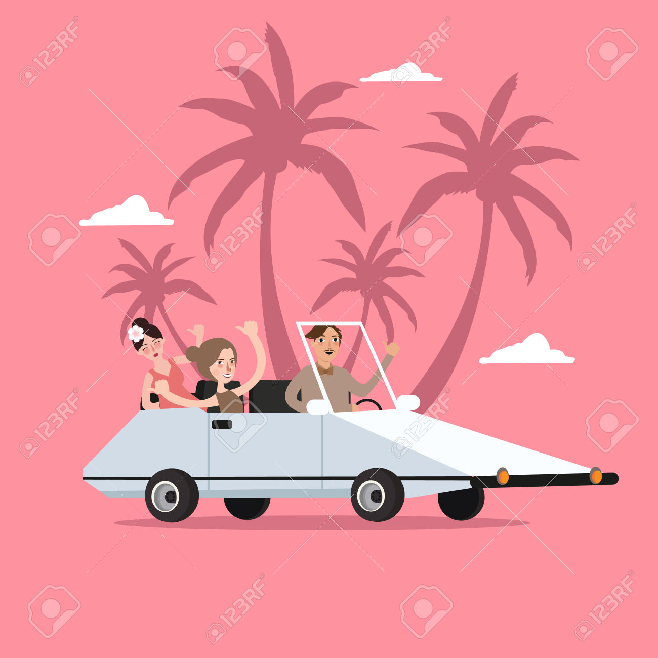 Group Of People Ride Car Open For Travel Holiday With Palm Tree.