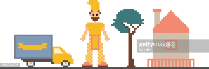 Pixel Art Clipart With Car Tree House And Man Vector Art.