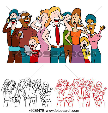 Clip Art of Sharing Good News Cell Phone Users k6085479.